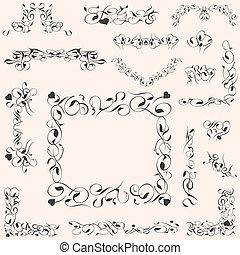 vector set calligraphic vintage design elements decoration