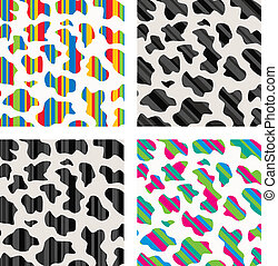 vector set of abstract colorful cow skin texture