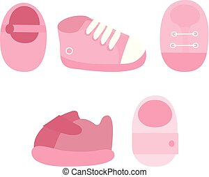 Vector set of baby girl shoes icons.