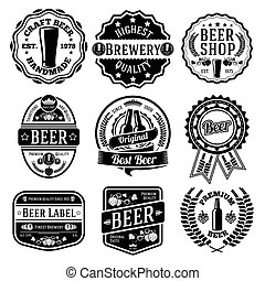 Vector set of beer labels and emblems.
