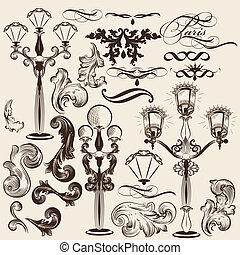 Vector set of calligraphic decorati