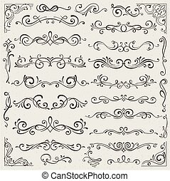 Vector set of calligraphic design elements and page decorations. Elegant collection of hand drawn swirls and curls for your design. Isolated on beige background
