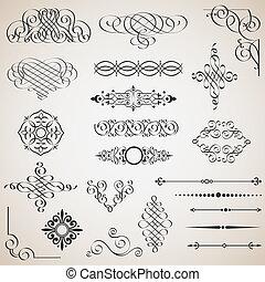 Vector set of calligraphic design elements