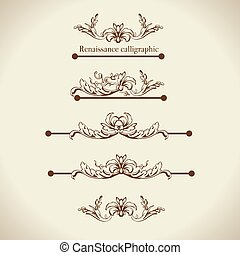 Vector set of calligraphic design elements, page decor, dividers