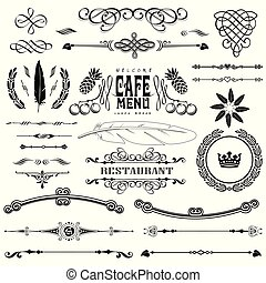 Vector set of calligraphic design elements: page decoration and label