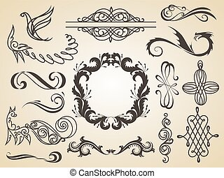 Vector set of calligraphic design elements page decoration, Satisfaction Guarantee Label, calligraphic frames.