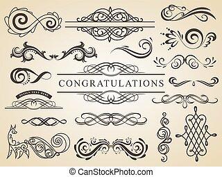Vector set of calligraphic design elements page decoration. Wedding design elements.