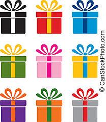 vector set of colorful gift box symbols
