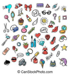 Vector set of fashionable patches. Modern doodle pop art sketch pins and badges.