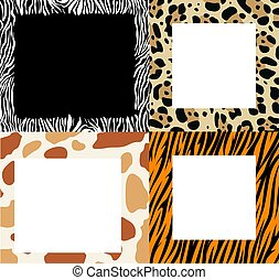 vector set of frame borders with abstract animal skin