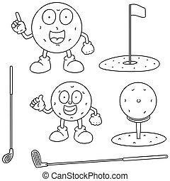 vector set of golf equipment