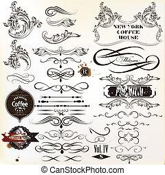 Vector set of vintage calligraphic