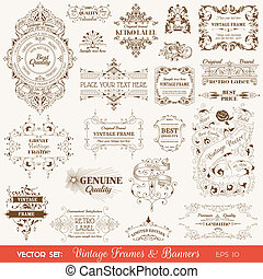 Vector Set: Vintage Frames and Banners, Calligraphic Design Elements and Page Decorations