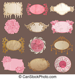Vector Set: Vintage Paper Frame collection - various tags for your design or scrapbook