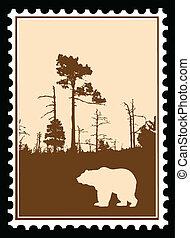 vector silhouette bear in wood on postage stamps