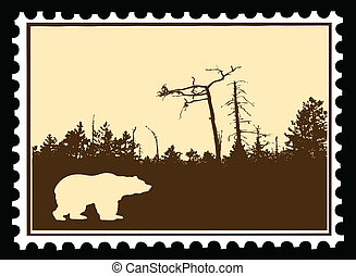 vector silhouette bear on postage stamps