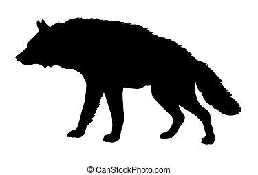 vector silhouette hyena