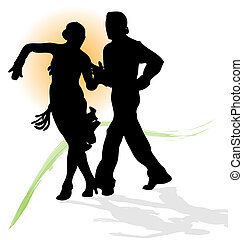 Vector silhouette of couple dancing latin with orange sun and green trace.