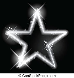 Silver Star Glowing on Black Background Christmas