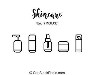 Vector skincare products cosmetics beauty routine line art icons