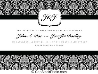 Ornate small frame with sample text. Perfect as invitation or announcement. Background pattern is included as seamless swatch. All pieces are separate. Easy to change colors and edit.