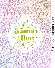 Summer Time card. Baroque style