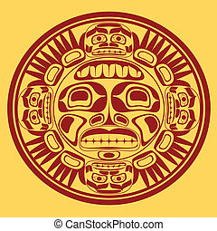 vector sun symbol, the stylization of native Canadian art