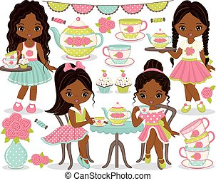 Vector tea party set. Set includes cute little African American girls having tea, teapot, tea cups and cupcakes. Vector girls with various hairstyles. Little African American girls vector illustration