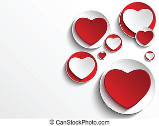 Vector - Valentine Day Heart on White Button