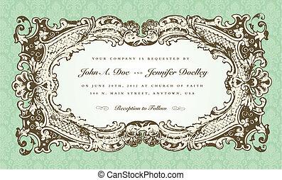 Vector Victorian Wedding Frame for Invitation