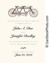Vector Vintage Bicycle Wedding Invitation