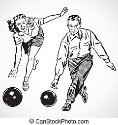 Vintage vector advertising illustrations of couple bowling.