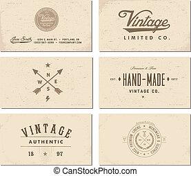 Vector Vintage Business Card Template Set