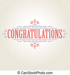 Vector vintage card with floral ornament design. Congratulations card