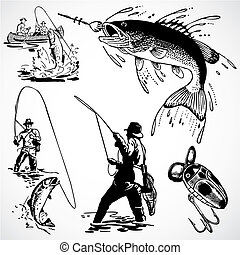 Vintage vector advertising illustrations of fishing.