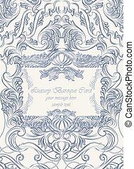 Vector Vintage Lace Invitation card with floral acanthus ornament. Delicate intricate decorated card for wedding ceremonies, anniversary, events. Engraving retro style. Serenity color