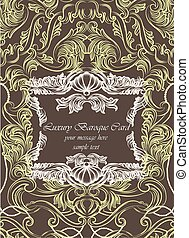 Vector Vintage Lace Invitation card with floral acanthus ornament. Delicate intricate decorated card for wedding ceremonies, anniversary, events. Engraving retro style. Brown color
