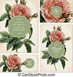 Vector Vintage Rose Wedding Invitation Set
