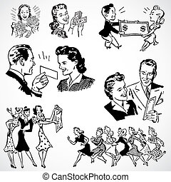 Vintage vector advertising illustrations of money and wealth.