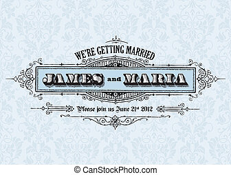 Vector Vintage Wedding Announcement