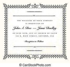 Vector Vintage Wedding Invitation Frame