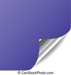 Vector violet page with curled corner and shadow. Perfect for adding text, design. More in my gallery.