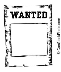 Vector wanted poster image on white