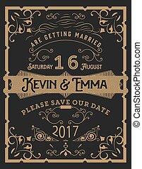 Vector. Wedding invitation vintage card.