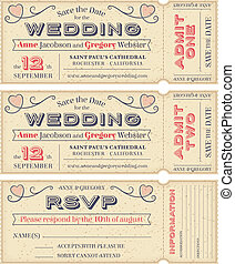 3 hi detail Vector Grunge Tickets for Wedding Invitations and Save the Date. Each ticket is on 4 different layers with Text, Decos, texture effect and background shape separated.