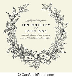 Vector Wedding Wreath Background. Easy to edit. Perfect for invitations or announcements.
