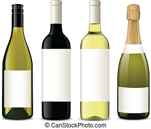 Vector illustration of different wine bottles