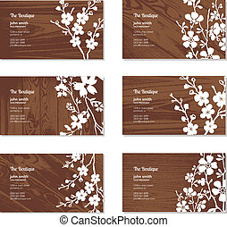 Vector Wood and Floral Business Card Set