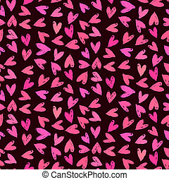 Velentine's day pattern with hand painted hearts.