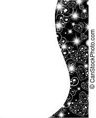 vertical abstract wavy heart frame in black and white